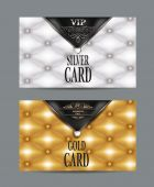 VIP vintage silver and gold cards with leather texture — Stock Vector