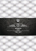 VIP white and black vintage card with leather texture — Stock Vector