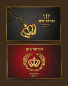 Set of elegant invitation VIP cards — Stock Vector