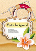 Background with the fishnet, lifebuoy and sand — Stock Vector