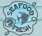 Fresh seafood restaurant poster — Stock Vector