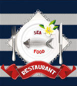 Seafood restaurant composition on the textile background — Stock Vector