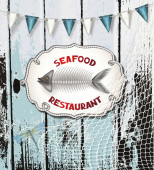 Seafood restaurant composition on the wooden background — Stock Vector