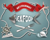 Seafood restaurant composition — Stock Vector