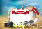 Summer background with view of the beach — Stock Vector