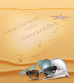 Summer beach background with sand and summer design elements — Stock Vector