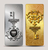 Elegant gold and silver VIP cards with chain frame and key — Stock Vector
