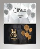 Gold VIP cards with air balloon on the textured background — Stock Vector
