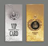 Elegant invitation VIP cards with floral design — Stock Vector