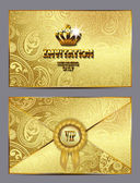 Gold invitation envelope with floral design — Stock Vector