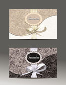 Elegant invitation envelopes with silk ribbons — Stock Vector