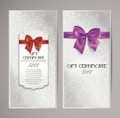 Elegant gift certificates with silk ribbons and floral design — Stock Vector