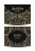 Gold elegant invitation envelopes with floral background — Stock Vector
