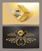 Gold VIP cards with rhombus and textured background — Stock Vector