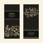 Invitation cards with gold floral elements — Stock Vector