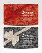 Invitation elegant cards with silk red bows — Stock Vector