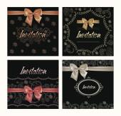 Set of invitation cards with floral design elements and silk bows — Stock Vector