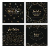 Set of invitation cards with gold design elements — Stock Vector