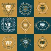 VIP floral monogram, logo design, vector template — Stock Vector