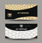 Gold and silver gift certificates with textured background — Stock Vector