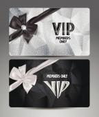 Elegant VIP platinum cards with silk ribbons — Stock Vector