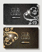 Club gold and silver cards with floral design elements — Stock Vector