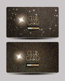 Gold club cards on the shiny background — Stock Vector