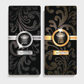 Gold and silver cards with floral textured design — Stock Vector