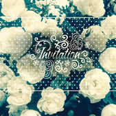 Invitation card with floral design elements and photo background — Stock Vector
