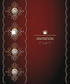 Invitation red card with gold design elements — Stock Vector