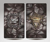 Silver and gold cards with the poligonal background — Stock Vector