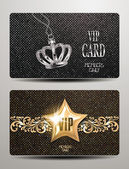 Textured cold and silver cards with crown and star — Stock Vector