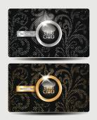 Vintage club cards with floral textured background — Stock Vector
