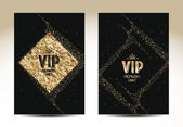 VIP cards with gold texture elements — Stock Vector