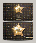VIP club cards on the disco shiny background — Stock Vector
