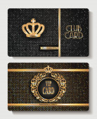 VIP club cards with crown — Stock Vector