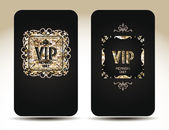 VIP vintage cards with floral design and gold texture — Stock Vector