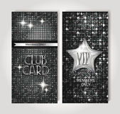 VIP silver club cards on the shiny background — Stock Vector