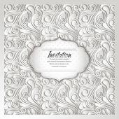 Elegant invitation white card with floral design — Stock Vector