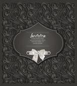 Elegant black invitation card with floral design — Stock Vector