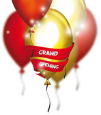 Grand opening card with colorful air balloons and red ribbon — Stock Vector