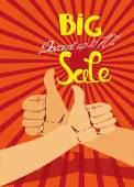 Big sale banner with thumbs — Stock Vector