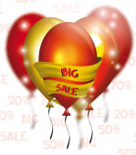 BIG SALE card with colorful air balloons and yellow ribbon — Stock Vector