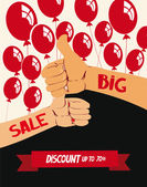 Big sale poster with hands and air balloons — Stock Vector