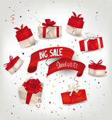 Big sale banner with gift boxes and red ribbon — Stock Vector