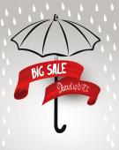 Big sale red ribbon. Vector illustration — Stock Vector