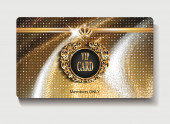Gold club card on the shiny textile background — Stock Vector