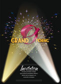 Grand opening card with fireworks — Stock Vector