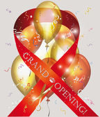 Grand opening card with red ribbon , scissors and confetti — Stock Vector