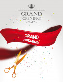 Grand opening card with gold scissors, confetti and red ribbon — Stock Vector